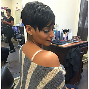 abordables Pelucas Naturales de Malla-Mezcla de cabello humano Peluca Ondulado Corte Pixie Peinados cortos 2020 Marrón Oscuro Naturaleza Negro Entradas Naturales Hecho a Máquina Mujer castaño medio Negro Azabache 8 pulgadas