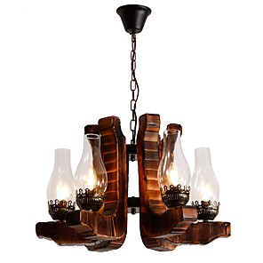 cheap Wall Murals-JLYLITE 6-Light 55 cm Mini Style Chandelier Metal Glass Industrial Painted Finishes Rustic / Lodge / Artistic 110-120V / 220-240V