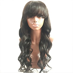 cheap Human Hair Wigs-Virgin Human Hair Full Lace Wig Layered Haircut With Bangs style Malaysian Hair Wavy Body Wave Black Wig 130% Density with Baby Hair For Black Women Women's Short Medium Length Long Human Hair Lace