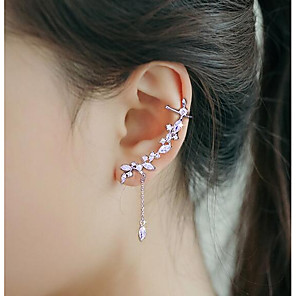 cheap Religious Jewelry-Women's Cubic Zirconia Ear Cuff Ear Climbers Fashion Silver Plated Earrings Jewelry Silver For Wedding Party 1pc