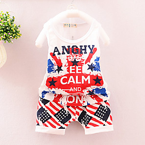 cheap Kids' Boots-Toddler Boys' Active Daily Holiday Print Sleeveless Regular Cotton Clothing Set White / Cute