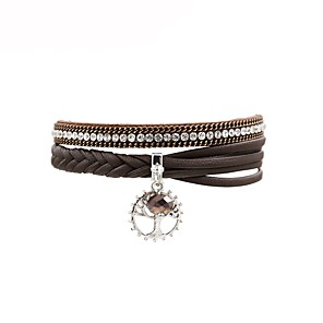 cheap LED String Lights-Women's Leather Bracelet Leaf Ladies Fashion Leather Bracelet Jewelry Brown For Gift Daily