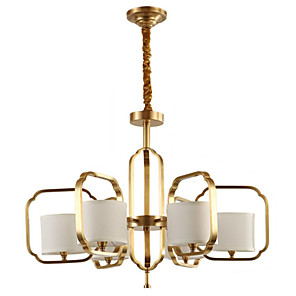 cheap Candle-Style Design-QIHengZhaoMing 6-Light 80 cm City View Chandelier Metal Fabric Candle-style Electroplated Country 110-120V / 220-240V
