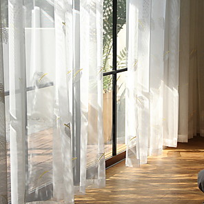 cheap Sheer Curtains-Sheer Curtains Shades Bedroom Geometric / Contemporary Cotton / Polyester Jacquard