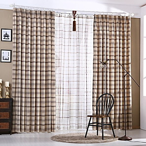 cheap Mosquito Nets-Sheer Curtains Shades Living Room Stripe / Lattice / Contemporary Cotton / Polyester Printed