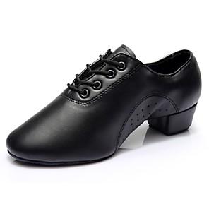 cheap Latin Shoes-Men's Dance Shoes Faux Leather Latin Shoes Heel Thick Heel Customizable Black / Performance / Practice