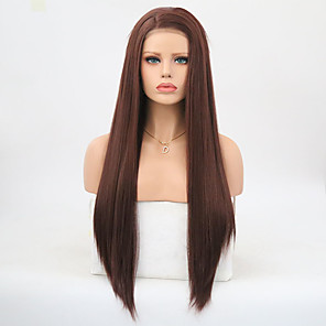 cheap Synthetic Lace Wigs-Synthetic Lace Front Wig Matte Silky Straight Side Part Lace Front Wig Long Dark Auburn Synthetic Hair 24 inch Women's Adjustable Heat Resistant Fluffy Dark Brown