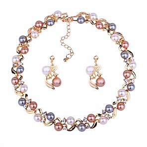 cheap Jewelry Sets-Women's Jewelry Set Drop Earrings Choker Necklace Ball Ladies Classic Elegant Fashion Earrings Jewelry Gold / Silver For Daily Ceremony