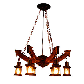 cheap Indoor Wall Lights-6-Light 80 cm Mini Style Chandelier Wood / Bamboo Industrial Painted Finishes LED / Vintage 110-120V / 220-240V