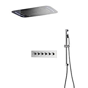 cheap Rain Shower-Thermostatic Shower Faucet - Contemporary Chrome Wall Mounted Ceramic Valve Bath Shower Mixer Taps / Brass