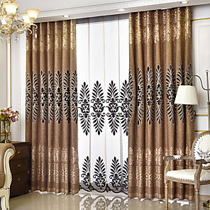 cheap Curtains Drapes-Sheer Curtains Shades Bedroom Solid Colored Cotton / Polyester Printed