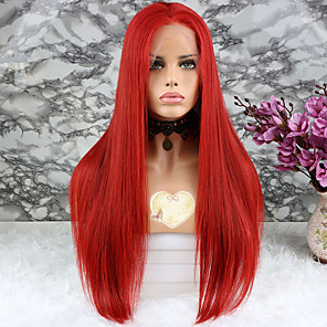 cheap Human Hair Wigs-Virgin Human Hair Lace Front Wig style Brazilian Hair Straight Red Wig 130% Density with Baby Hair Coloring Women's Short Medium Length Long Human Hair Lace Wig Luckysnow