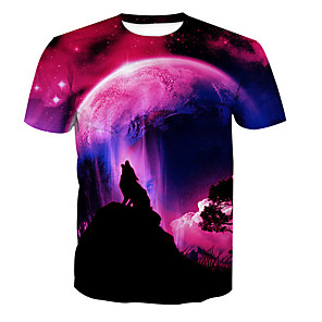 cheap Wall Stickers-Men's Daily T-shirt Animal Print Short Sleeve Tops Basic Round Neck Red
