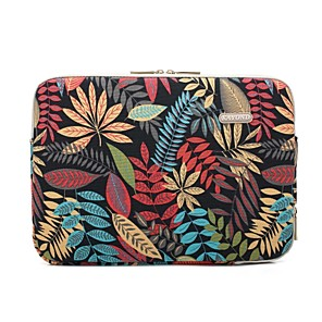 "cheap Sleeves,Cases & Covers-11.6"" 13.3"" 14"" 15.6"" Plant Leaf Pattern Laptop Sleeves Canvas for Macbook/Surface/HP/Dell/Samsung/Sony Etc"