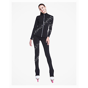 cheap Ice Skating Dresses , Pants & Jackets-SKMEI Figure Skating Jacket with Pants Women's Boys' Girls' Ice Skating Pants / Trousers Top Black Spandex Stretchy Training Competition Skating Wear Sequin Long Sleeve Figure Skating