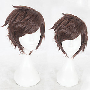 cheap Synthetic Trendy Wigs-Synthetic Wig Straight Layered Haircut Wig Short Brown Synthetic Hair Men's Natural Hairline Brown