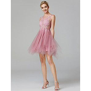 cheap Bridesmaid Dresses-A-Line Sexy Pink Homecoming Cocktail Party Dress Illusion Neck Sleeveless Short / Mini Lace Over Tulle with Appliques 2020