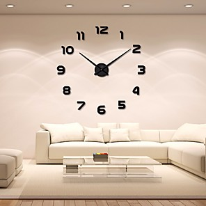 cheap Abstract Paintings-Modern / Contemporary Acryic / Polyester Stainless steel Round Indoor / Outdoor,AA Batteries Powered AA Wall Clock