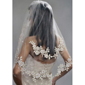 cheap Wedding Slips-Two-tier Stylish / Pearls Wedding Veil Elbow Veils with Faux Pearl / Embroidery POLY / Drop Veil