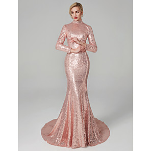 cheap Prom Dresses-Mermaid / Trumpet Chinese Style Sparkle & Shine Open Back Holiday Cocktail Party Formal Evening Dress High Neck Long Sleeve Court Train Sequined with Sequin 2020
