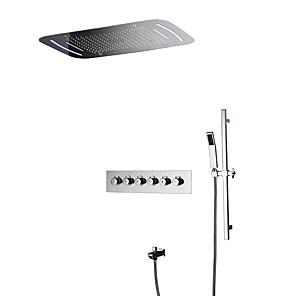 cheap Rain Shower-Shower Faucet - Contemporary Chrome Wall Mounted Ceramic Valve Bath Shower Mixer Taps / Brass