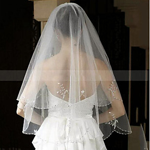 cheap Wedding Veils-Two-tier Fashionable Jewelry / Flower Style / Mesh Wedding Veil Chapel Veils with Fringe / Splicing POLY / Tulle / Oval