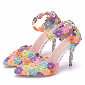 cheap Wedding Shoes-Women's Wedding Shoes Stiletto Heel Pointed Toe Buckle PU(Polyurethane) Comfort / Novelty Spring / Fall Rainbow / EU41