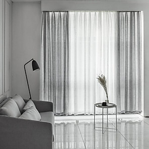 cheap Sheer Curtains-Sheer Curtains Shades Bedroom Solid Colored / Geometric Cotton / Polyester Yarn Dyed