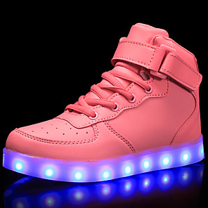 cheap Kids' LED Shoes-Girls' LED / LED Shoes / USB Charging PU Sneakers LED / Luminous White / Black / Red Spring / Rubber