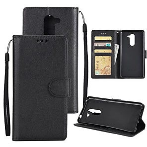 cheap Huawei Case-Case For Huawei Honor 6X Wallet / Card Holder / Shockproof Full Body Cases Solid Colored Hard PU Leather