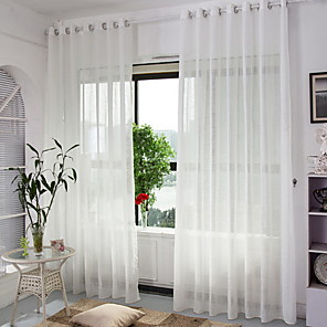 cheap Sheer Curtains-Sheer Curtains Shades Bedroom Solid Colored Cotton / Polyester Yarn Dyed