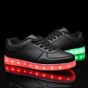 cheap Kids' LED Shoes-Men's Women's Sneakers Plus Size Flat Heel LED Comfort LED Shoes LED PU White / Black / EU40