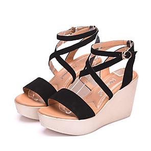 Mujer Zapatos Ante Verano Confort Sandalias Tacón Cuña Dedo redondo Fucsia / Café / Rojo / Tacones de cuña S47EiSyN1l
