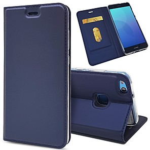 cheap Huawei Case-Case For Huawei P10 Plus / P10 Lite / P10 Card Holder / Shockproof / with Stand Full Body Cases Solid Colored Hard PU Leather