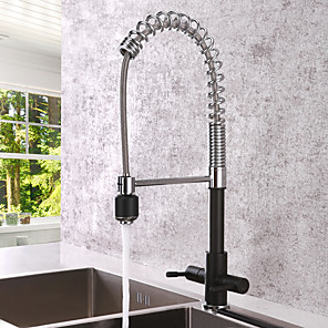 cheap Kitchen Faucets-Kitchen faucet - Two Handles One Hole Chrome Pull-out / Pull-down Centerset Contemporary Kitchen Taps
