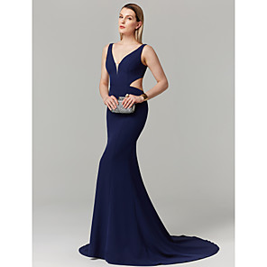 cheap Wall Stickers-Mermaid / Trumpet Elegant Holiday Cocktail Party Prom Dress Plunging Neck Sleeveless Court Train Spandex with Pleats 2020 / Formal Evening