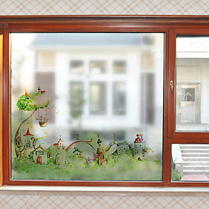 cheap Wall Stickers-Cartoon Castle Pattern Matte Window Film Cling Vinyl Thermal-Insulation Privacy Protection Home Decor For Window Cabinet Door Sticker / Window Sticker