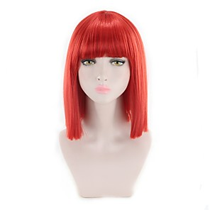 cheap Costume Wigs-Synthetic Wig Straight Kardashian Bob Wig Pink Short Pink Red Synthetic Hair Women's Synthetic New Arrival Red Pink