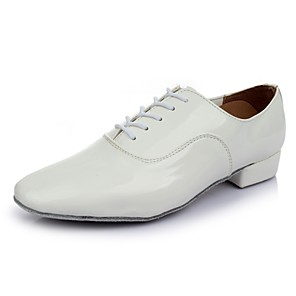 cheap Latin Shoes-Men's Dance Shoes Patent Leather Latin Shoes Heel Thick Heel Customizable White / Performance / Practice