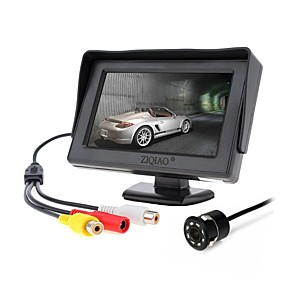 cheap Car Rear View Camera-ZIQIAO 4.3 Inch Sunshade Monitor and 8LED CCD HD Car Rear View Camera Parking System for Car Rearview Monitors NTSC PAL