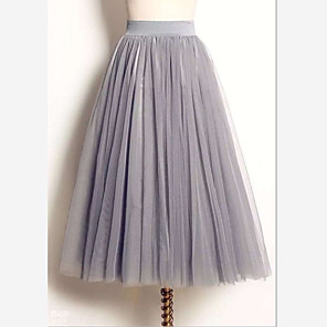 cheap Wedding Slips-Women's Tutus Cute Maxi Swing Skirts Solid Colored Tulle