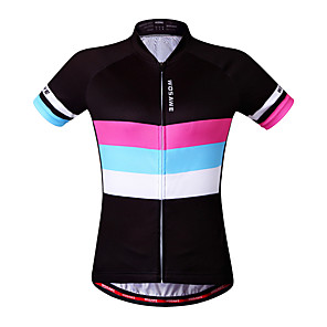 cheap Cycling Jerseys-WOSAWE Women's Short Sleeve Cycling Jersey Black Rainbow Bike Jersey Top Mountain Bike MTB Road Bike Cycling Breathable Quick Dry Moisture Wicking Sports Clothing Apparel / Reflective Strips