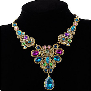 cheap Jewelry Sets-Women's Crystal Statement Necklace faceter Ladies Luxury Colorful Indian Synthetic Gemstones Alloy Rainbow Black Necklace Jewelry For Party