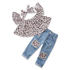 cheap Kids Collection Under $8.99-Toddler Girls' Active Street chic Daily Sports Leopard Short Sleeve Regular Clothing Set Blue