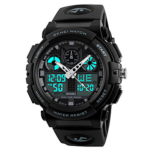 cheap Sport Watches-SKMEI Men's Sport Watch Japanese Digital Quilted PU Leather Black 50 m Water Resistant / Waterproof Stopwatch Cool Analog - Digital Dark Red Gold Green