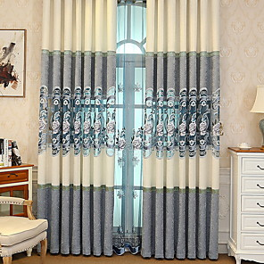 cheap Mosquito Nets-Curtains Drapes Living Room Floral Cotton / Polyester Jacquard