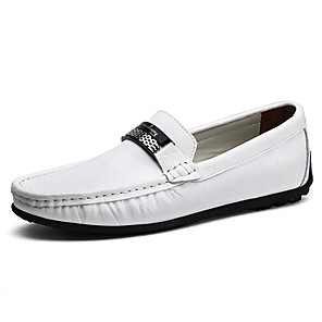 cheap Men's Slip-ons & Loafers-Men's Leather Shoes Leather Spring &  Fall Business / British Loafers & Slip-Ons Walking Shoes Wear Proof Black / White / Blue / Party & Evening / Party & Evening