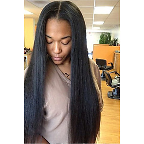 cheap Human Hair Wigs-Unprocessed Human Hair U Part Wig Layered Haircut Kardashian style Brazilian Hair Straight Black Wig 130% Density with Baby Hair For Black Women Women's Short Medium Length Long Human Hair Lace Wig