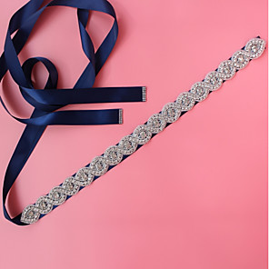 cheap Party Sashes-Satin / Tulle Wedding / Special Occasion Sash With Crystals / Rhinestones Women's Sashes