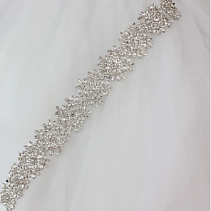 cheap Party Sashes-Metalic Wedding / Special Occasion Sash With Crystals / Rhinestones Women's Sashes